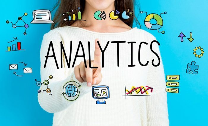 Analytics text with young woman
